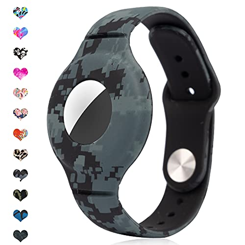 Wristband for Kids Compatible with Apple AirTag, Strap Case Bracelet Cover for Air tag GPS Anti-Lost Locator, Lightweight Silicone Watch Band for Children, Boys, and Girls (Camo grey/green)