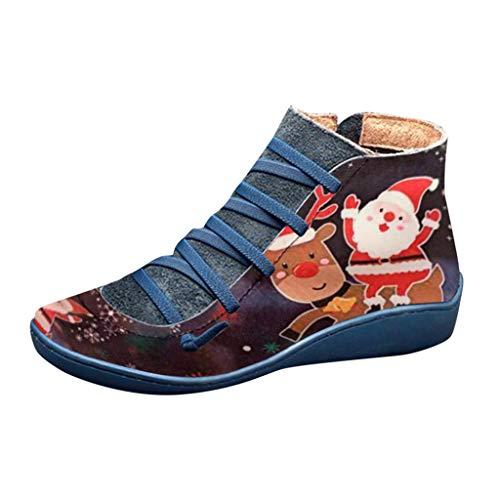 Andouy Damen Stiefeletten Casual Schnürstiefel Weihnachten Drucken Seitlicher Reißvers Flache Stiefel(38 EU,Blau-2)