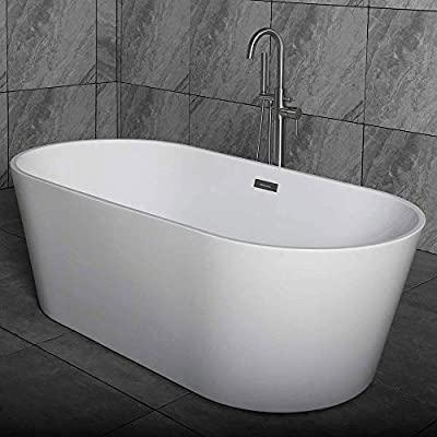 "Woodbridge Acrylic Freestanding Bathtub Contemporary Soaking Tub with Brushed Nickel Overflow and Drain B-0014-B/N-Drain &O, 59"" B0014"