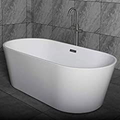 """DIMENSIONS AND SPECIFICATIONS: Exterior Dimension: 59"""" Long x 29 1/2"""" Wide x 23 1/4"""" Deep – Effective Tub Capacity: 55 Gallons PREMIUM QUALITY CONSTRUCTION: Woodbridge bathtub is made out of 100% high gloss white LUCITE acrylic and reinforced with AS..."""