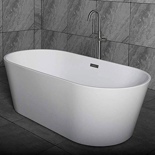 "Woodbridge 59"" Acrylic Freestanding Bathtub Contemporary Soaking Tub with Brushed Nickel Overflow and Drain, B-0014 / BTA1514"
