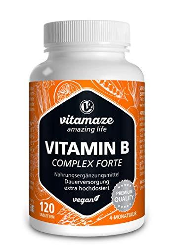 Vitamina B Complex ad Alto Dosaggio 120 Compresse Vegan per 4 Mesi, Tutte le Vitamine del Gruppo B del Complesso, Qualità Tedesca, Integratore Alimentare senza Additivi non Necessari