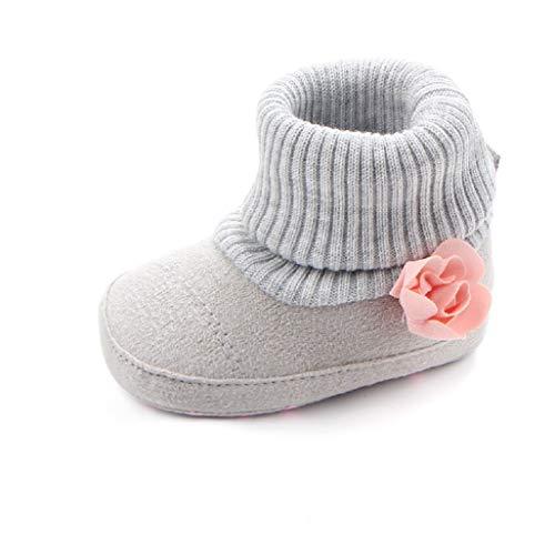 Auxma Baby Winter warme Schuhe,Strick Baumwolle Stiefel,Kinder Mode Blumen Schuhe für 0-18 Monate (0-6 Monate, grau)