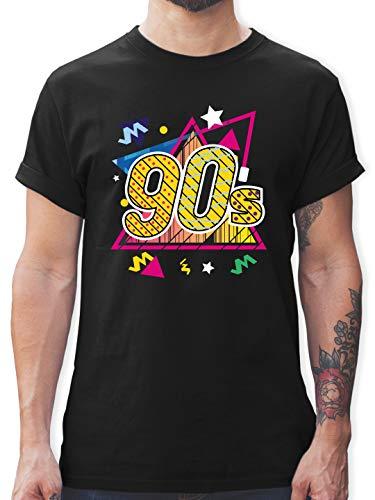 Vintage - 90's Retro - bunt - M - Schwarz - Fun - L190 - Tshirt Herren und Männer T-Shirts