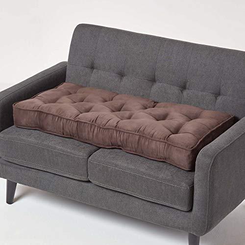 Homescapes Sitzkissen für 2er Couch mit Veloursbezug, braun, Dickes Sitzpolster für 2-Sitzer Sofas und Gartenbänke 100 x 50 cm, extra Lange Sitzauflage/Bankauflage mit Tragegriff
