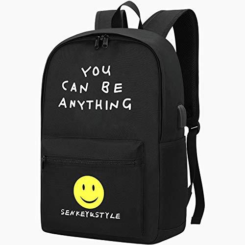 ZFLL Schultasche 2019 Neue Trend Student Schultasche personalisierte Muster Kinder Tasche leuchtenden Schulrucksack lässig Reiserucksack Sportrucksack, schwarz