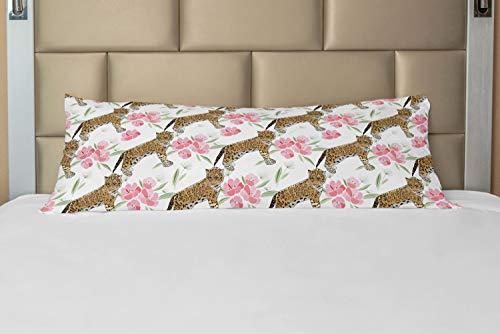 ABAKUHAUS Jaguar Hoes voor Ligzak met Rits, Blossoming Corsage Botany, Decoratieve Lange Kussensloop, 53 x 137 cm, Pale Brown Pale Pink