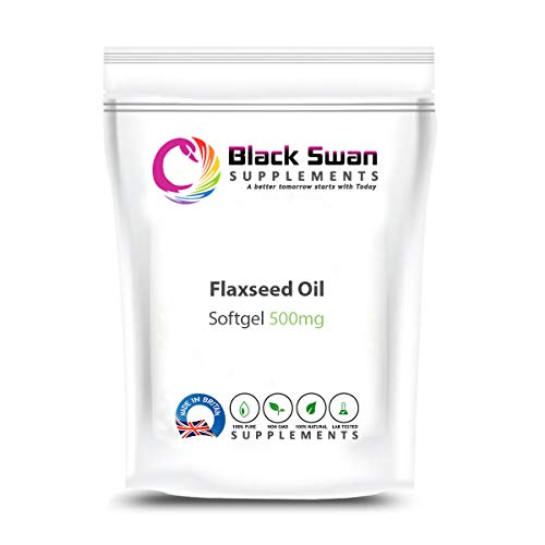 Black Swan Flaxseed 500mg Softgels - for Weight Loss and Healthy Heart and Eyes - for Vegetarian (60 softgels)