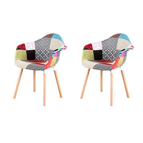 ArtDesign FR Moderner Leinen Stoff Akzent Sessel Patchwork Stühle für Wohnzimmer/Esszimmer/Schlafzimmer 2_a5_rd