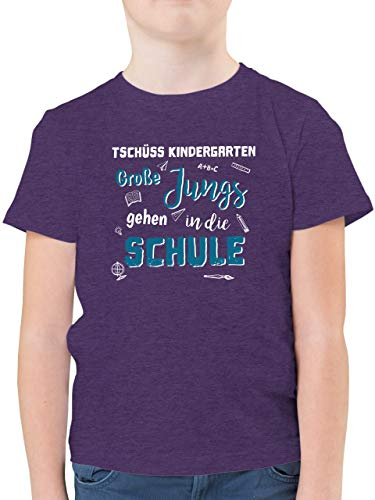 Einschulung und Schulanfang - Tschüss Kindergarten Große Jungs - 116 (5/6 Jahre) - Lila Meliert - Kindergarten abschluss t-Shirt - F130K - Kinder Tshirts und T-Shirt für Jungen