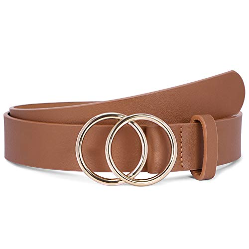 Brown Women Leather Belt with Gold Double Ring Buckle,SUOSDEY Fashion Designer Belts for Women