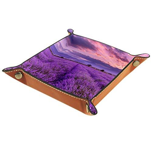 ZDL Lavender FieldStorage Box Caja de almacenamiento organizador para llaves, teléfono, monedas, cartera, relojes, etc. 20,5 x 20,5