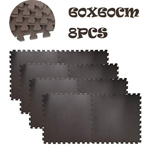 Dicn Electronic - Alfombrillas de ejercicio para gimnasio en casa, gimnasio, forma de rompecabezas entrelazada de goma EVA, antideslizante, 60 x 60 cm, color marrón, 8 unidades