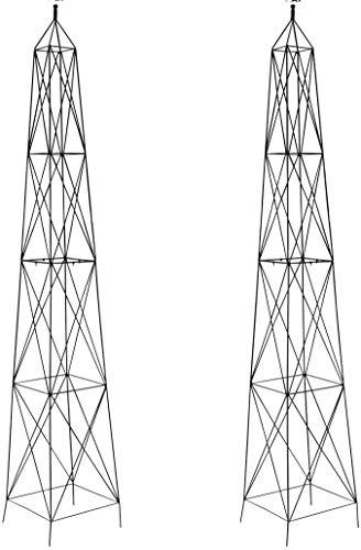 Pair of Selections Parisian Steel Garden Obelisks