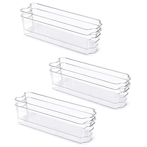 tellaLuna Juego de 6 cubos de plástico para frigorífico, organizador de nevera, con asa, cubos de almacenamiento de alimentos para congelador, nevera