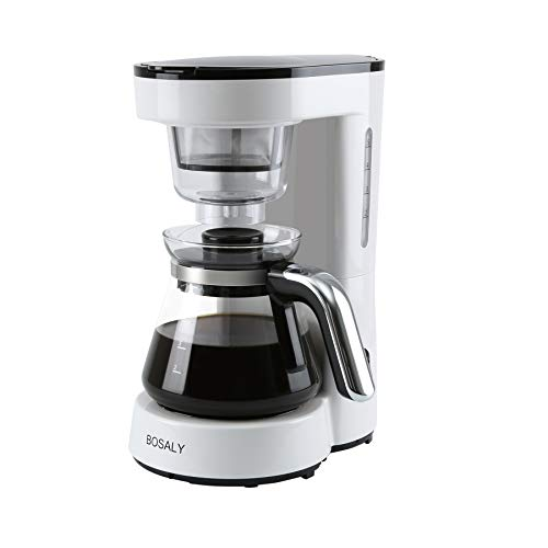 Coffee Maker with Glass Carafe BOSALY Drip Coffee Machine Reusable Filter Keep Warm 5 Cups White