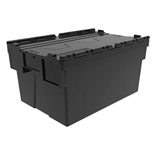 c8cc4a35bb8c6a 5 x Attached Lidded Plastic Box 56 Litres - Recycled Plastic Storage Box  Container Crate Tote