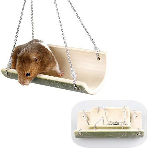 Jasa 2ST-62806 natürlicher Bambus Schaukel, Hamster Spielzeug, Zweiteilige Reihe von kleinen und Grossen