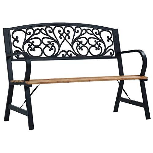 BIGTO Gartenbank aus Metall und Holz, Gartenstuhl, Terrassenmöbel, schwarz, 120 cm