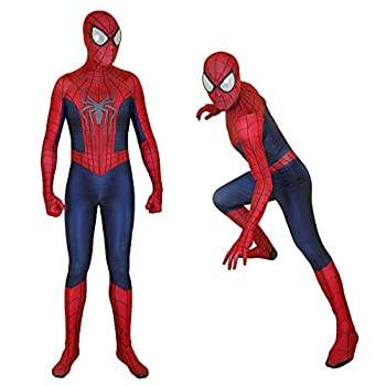 Unisex Spandex Zentai Halloween Cosplay Costumes Adult/Kids 3D Style  Adult-M red and Blue