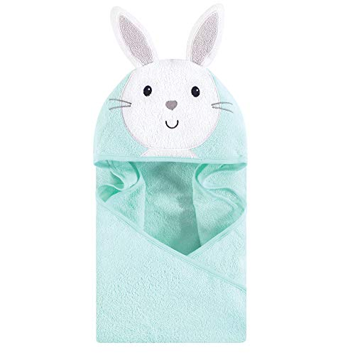 Hudson Baby Unisex Baby Cotton Animal Face Hooded Towel, Mint Bunny, One Size