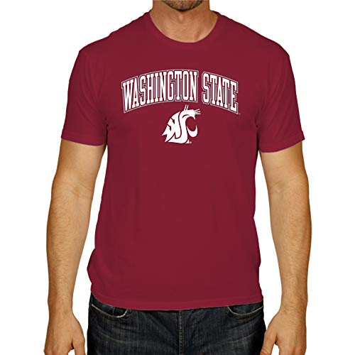 Campus Colors Adult Arch & Logo Soft Style Gameday T-Shirt (Washington State Cougars - Red, XX-Large)