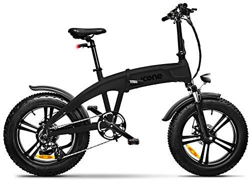 """giordanoshop Fat-Bike Bicicletta Elettrica Pieghevole a Pedalata Assistita 20\"""" 250W Icon.E iDesert X5 Total Deep Black"""