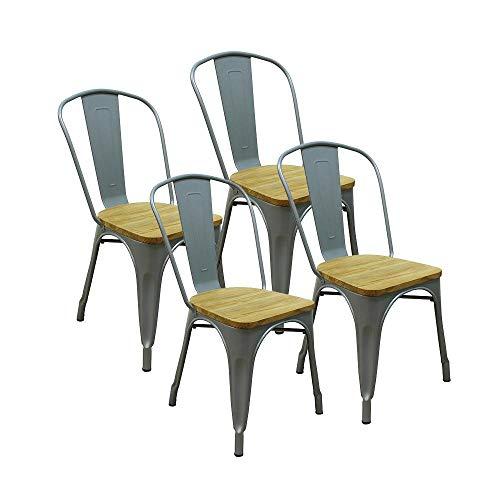 RED DECO Lot de 4 chaises Gaston en métal Gris Style Industriel avec Assise en Bois Massif Clair