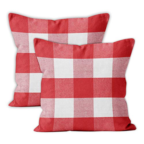 Encasa Homes Cushion Covers 2 pcs set (40 x 40 cm) - Buffalo Red Checks - Decorative Large Square Colourful Washable Eco - Cotton, Throw Pillow Cases for Living Room, Sofa, Bedroom, Home & Hotel