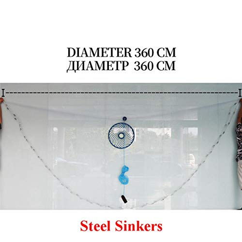 Hot Koop Diep Gat Gegoten Diameter 300 CM 720 CM Amerikaanse Stijl Oude Zout Gegoten Kleine Mesh Visnet met Ringen, 360 cm Stalen Zinken, China