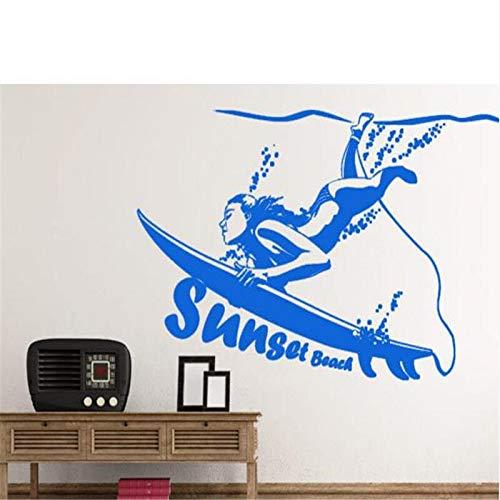 Vkjrro Grandes Pegatinas de Pared calcomanías de Surf Girl decoración del hogar Papel Tapiz Impermeable Alto decoración del Dormitorio 73x122cm