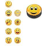 Navaris 10x Aimant Emoji Rond - Lot de Magnets émoticônes pour Tableau magnétique - Tableau Blanc frigo Cuisine décoration - Différents modèles