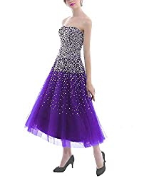 Purple Short Dress with Rhinestones