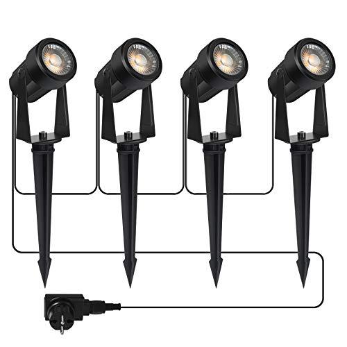 Gartenbeleuchtung LED,COB im Freien IP65 Wasserdichter Gartenleuchte, Warmweiß 3000K Gartenstrahler mit Erdspieß,Dekorative Gartenlampe Beleuchtung für Außen Garten Rasen