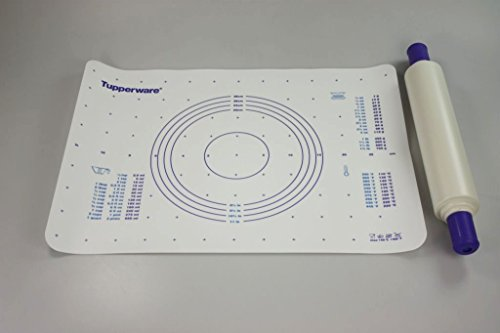 TUPPERWARE Backen Profi-Teigrolle blau-lila + Teigunterlage blau Backhelfer
