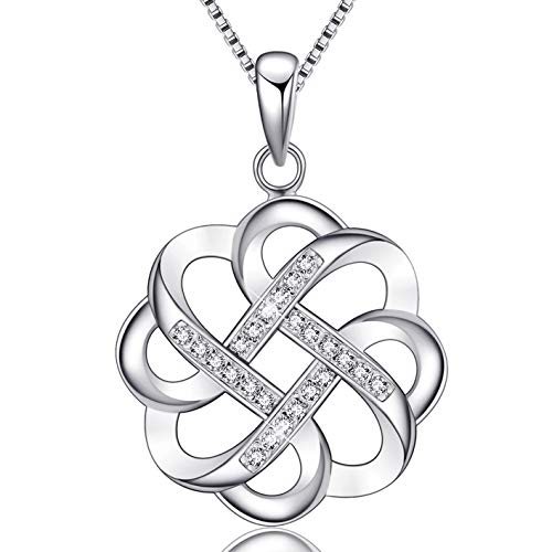 EURYNOME 925 Sterling Silver Endless Love Vintage Irish Celtic Knot Pendant Necklace for Women Jewelry Christmas Gifts