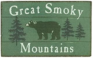 Magnet Wooden Sign, Great Smokey Mountains, Bear, 4-inch