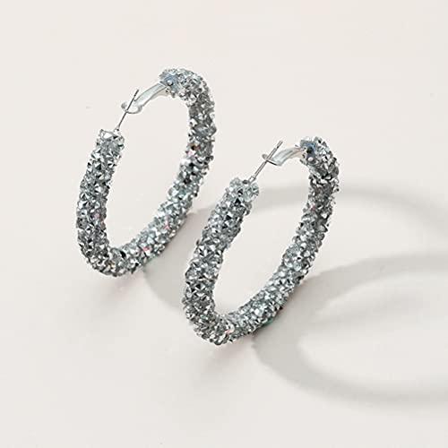 Bagima Pendientes de aro de Plata para Mujeres, Vintage Diamante Chunky Hoop Completo Incrustado enlaidillo Diamiting Helix Hoop Pendiente Flash Joyas Pendientes Joyas para niñas Damas