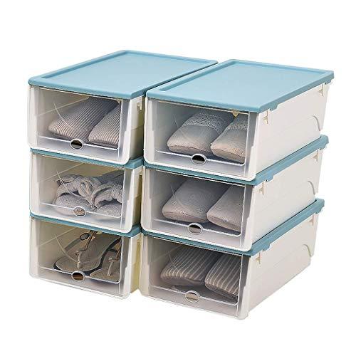 GAXQFEI Zapatero Apilable Zapato de Plástico Zapato Portátil de Alenamiento de Zapatos Y Caja de Clasificación, con un Juego de Puertas Transparentes de 6, Adecuado para Zapatos Deportivos, Tacones A