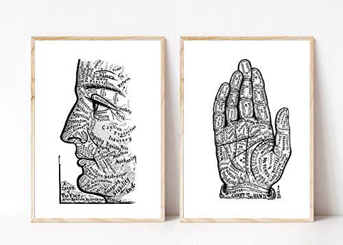 Din A4 Kunstdruck ungerahmt 2-teilig Wahrsagen Hand Handlesen Gesicht lesen Esoterik Charakter Zukunft Tarot Druck Poster Bild