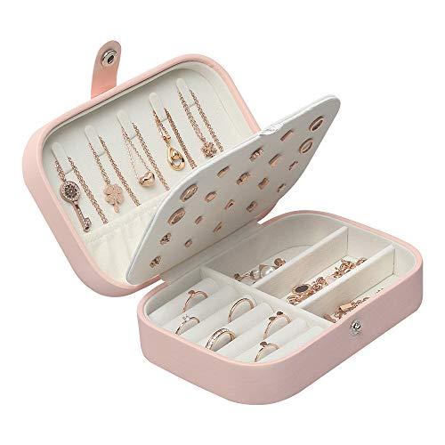 STURME Schmuckkästchen für Mädchen und Frauen gute Qualität PU-Leder Schmuck-Aufbewahrungsbox für Ringe Ohrringe Halsketten Armbänder Verschiedene Fächer zum Aufbewahren aller Arten von Schmuck (Rosa)