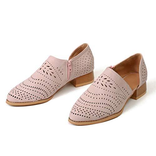 Mocasines Mujer Tacon Cuero Tobillo Zapatos de Trabajo Señoras Casual Loafers Primavera Verano Bloque Talones 5cm Comodos Negras Azul 35-43