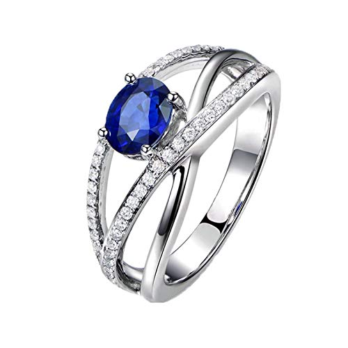Ubestlove Eternity Ring White Gold Clarins Gift Set For Women Sale Oval Infinity Sapphire 1.25Ct Diamond 0.29Ct Ring P 1/2