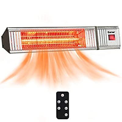 COSTWAY Wall-Mounted Patio Heater, 750W/1500W Infrared Heater with 9-Level Adjustable, 24H Timer, Auto Shut Off, Remote Control, Install Multi-Angle Adjustment, Outdoor Heater for Garage, Home