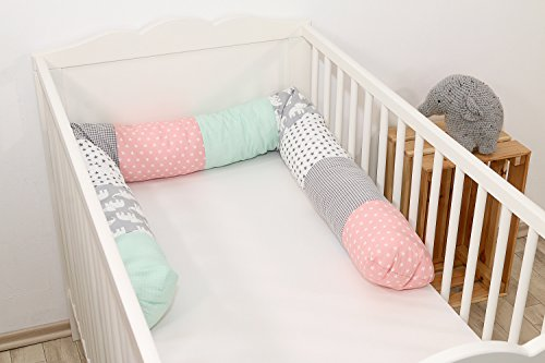Baby Nestschlange | Made in EU | ÖkoTex 100 | Schadstoffgeprüft | Antiallergisch | Baby Bettumrandung | Bettschlange | Elefant Mint Rosa | 200 x 13 cm | ULLENBOOM ®
