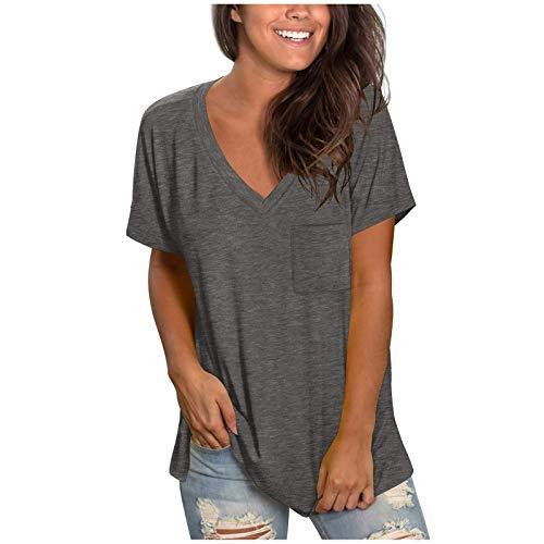 TianWlio Camisetas Manga Corta Mujer Verano Blusas con Manga Corta 2021 Casual Camiseta Elegante Sexy Suelto Camiseta Algodón con Cuello en V Estampado Flores Túnica T-Shirt