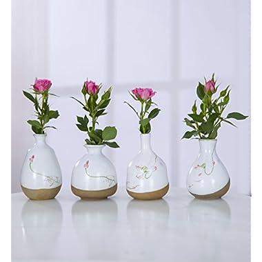 YIMEI 4pcs Ceramic Flower Vase Flower arranging