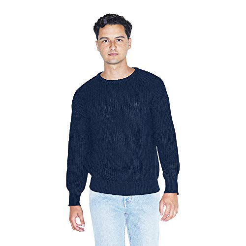 American Apparel Men's Fisherman's Long-Sleeve Pullover Knit Sweater, Navy, Large