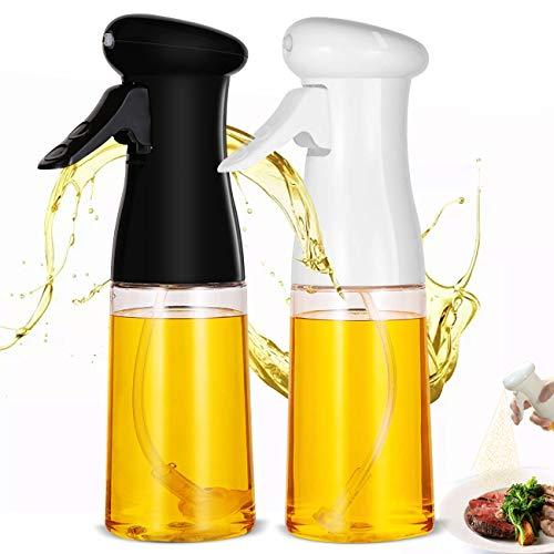 Akatsuki 2 Pezzi Dispenser di Olio per Cucina, Spray per Olio, 210 ML, Dispenser di Olio di Oliva per Cucinare, Barbecue, Arrostire, Cuocere (Nero e Bianco)