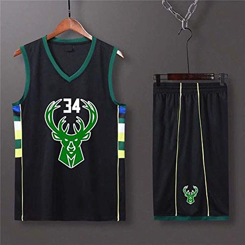 HS-XP Milwaukee Bucks # 34 Giannis Antetokounmpo # Sportweste Shorts NBA Basketball Jersey Set, Mann Sleeveless T-Shirt, Kind Kurzarm,Schwarz,(120.130cm)